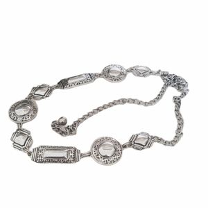 CHICO'S Silver Medallion Chain Belt Lobster Clasp